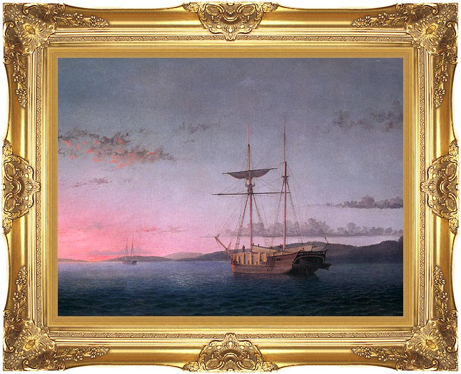 Fitz Hugh Lane Lumber Schooners at Evening on Penobscot Bay with Majestic Gold Frame