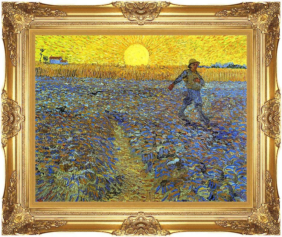 Vincent van Gogh The Sower with Majestic Gold Frame