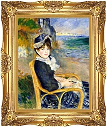 Pierre Auguste Renoir By The Seashore canvas with Majestic Gold frame