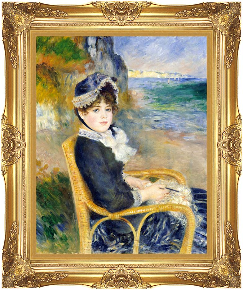 Pierre Auguste Renoir By the Seashore with Majestic Gold Frame