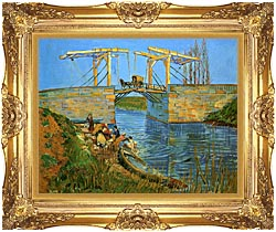 Vincent Van Gogh The Langlois Bridge At Arles With Women Washing canvas with Majestic Gold frame