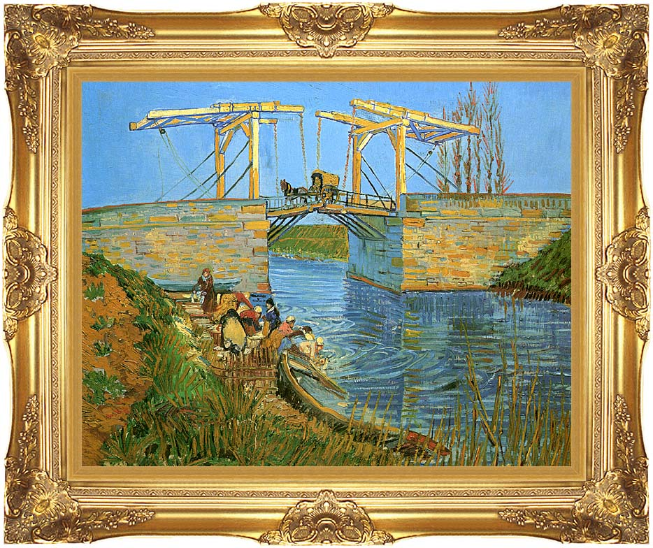 Vincent van Gogh The Langlois Bridge at Arles with Women Washing with Majestic Gold Frame
