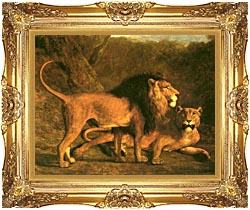 Jacques Laurent Agasse Two Lions Life Size canvas with Majestic Gold frame
