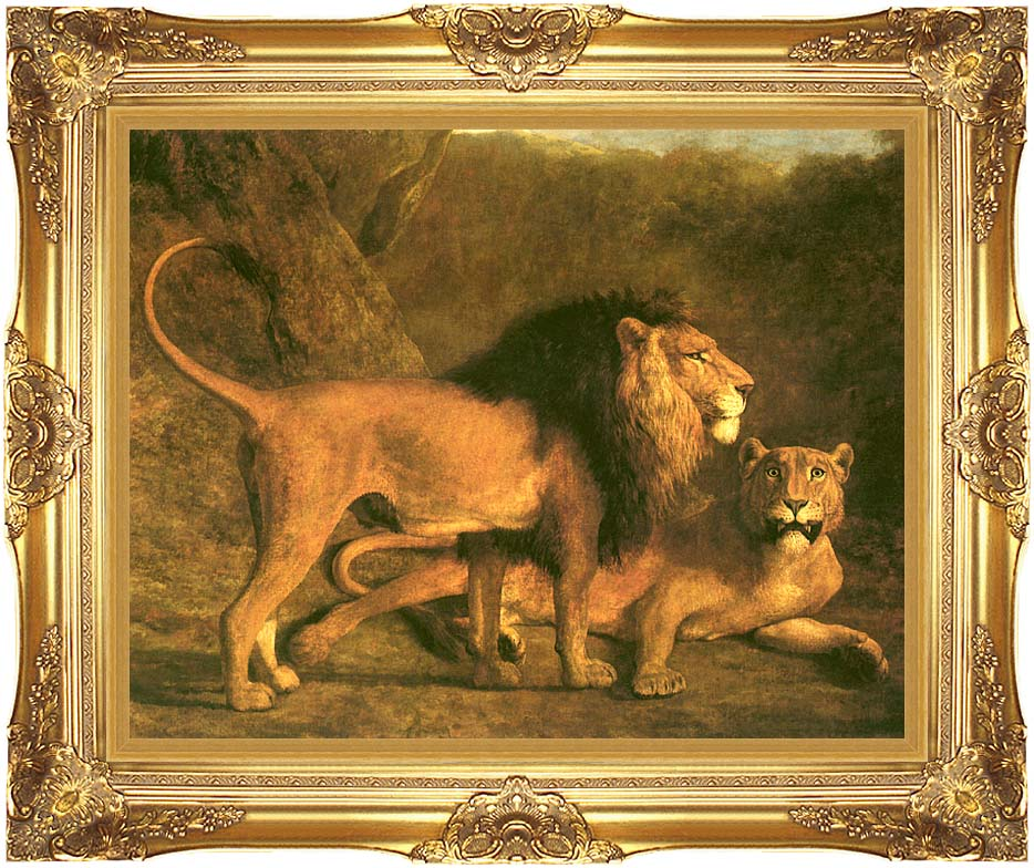 Jacques Laurent Agasse Two Lions, Life Size with Majestic Gold Frame