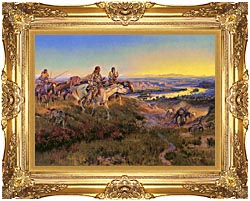 Charles Russell When White Men Turn Red canvas with Majestic Gold frame