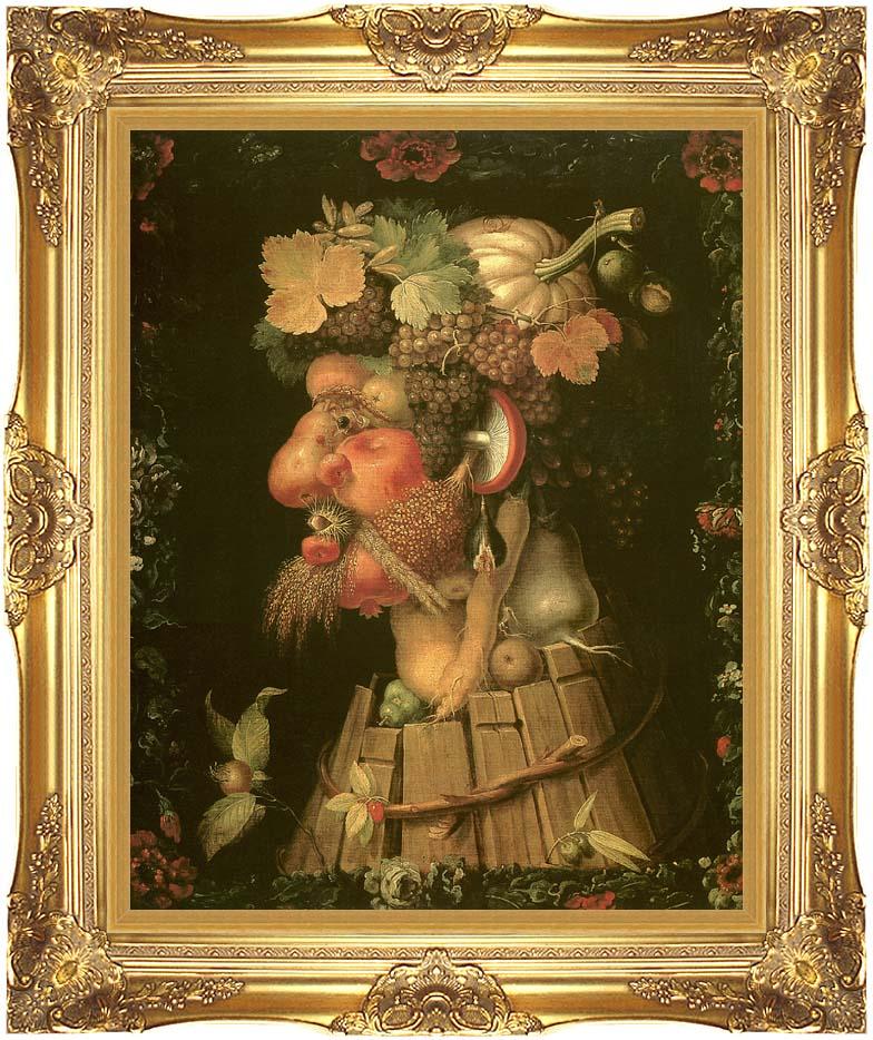 Giuseppe Arcimboldo Autumn with Majestic Gold Frame