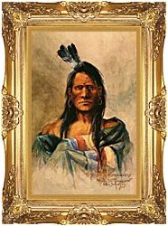 Charles Russell Indian Head canvas with Majestic Gold frame