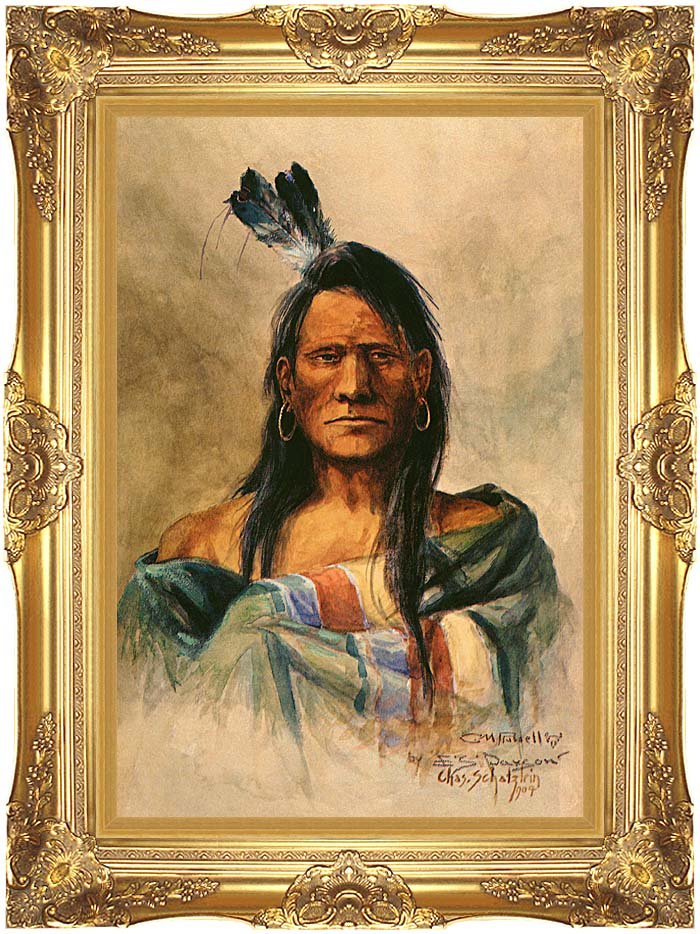 Charles Russell Indian Head with Majestic Gold Frame