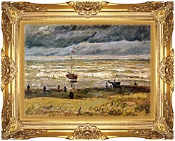 Vincent Van Gogh Beach At Scheveningen In Stormy Weather canvas with Majestic Gold frame