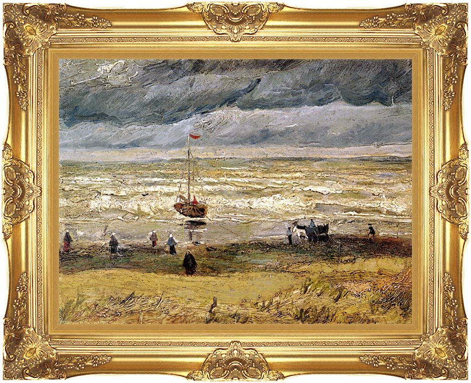 Vincent van Gogh Beach at Scheveningen in Stormy Weather with Majestic Gold Frame