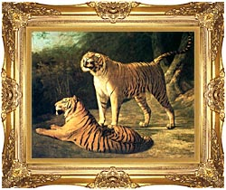 Jacques Laurent Agasse Two Tigers Life Size canvas with Majestic Gold frame