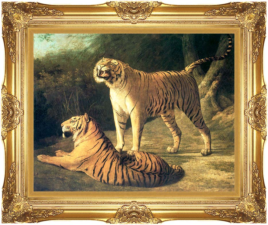 Jacques Laurent Agasse Two Tigers, Life Size with Majestic Gold Frame