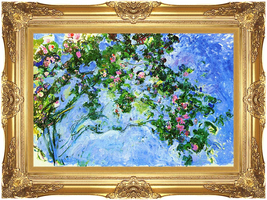 Claude Monet The Roses with Majestic Gold Frame