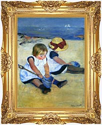 Mary Cassatt Children Playing On The Beach canvas with Majestic Gold frame
