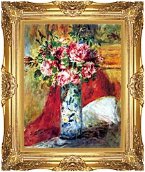 Pierre Auguste Renoir Roses In A Vase canvas with Majestic Gold frame