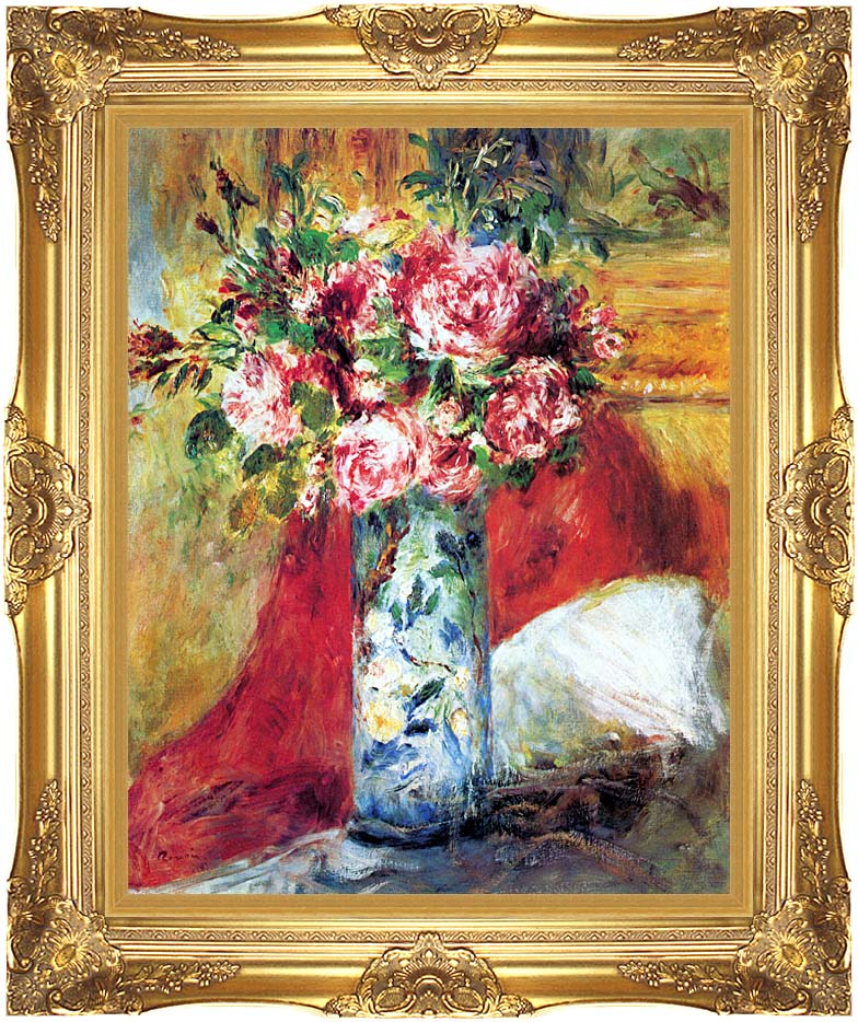 Pierre Auguste Renoir Roses in a Vase with Majestic Gold Frame
