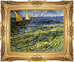 Vincent Van Gogh Seascape At Saintes Maries canvas with Majestic Gold frame