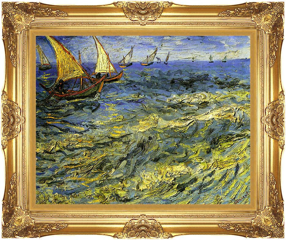 Vincent van Gogh Seascape at Saintes-Maries with Majestic Gold Frame