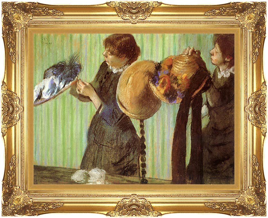 Edgar Degas Little Milliners with Majestic Gold Frame