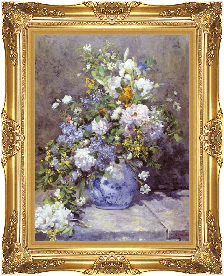 Pierre Auguste Renoir Spring Bouquet with Majestic Gold Frame