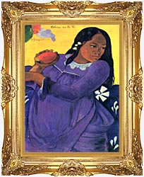 Paul Gauguin Woman With Mango canvas with Majestic Gold frame