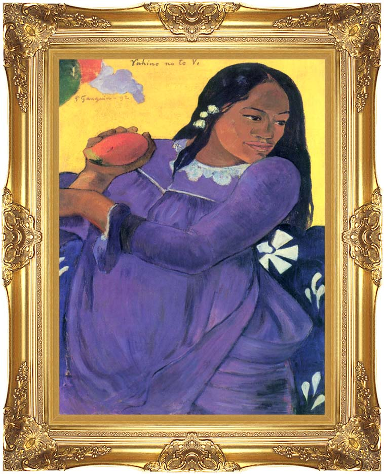 Paul Gauguin Woman with Mango with Majestic Gold Frame