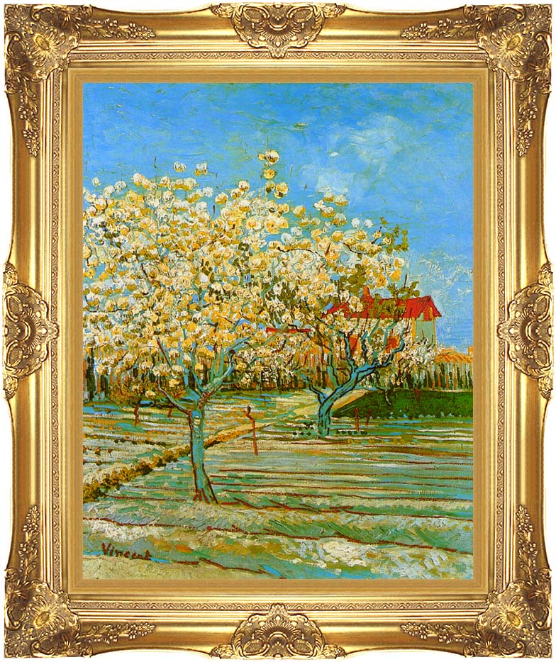 Vincent van Gogh Orchard in Blossom with Majestic Gold Frame