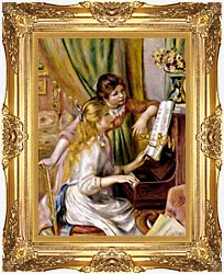 Pierre Auguste Renoir At The Piano canvas with Majestic Gold frame