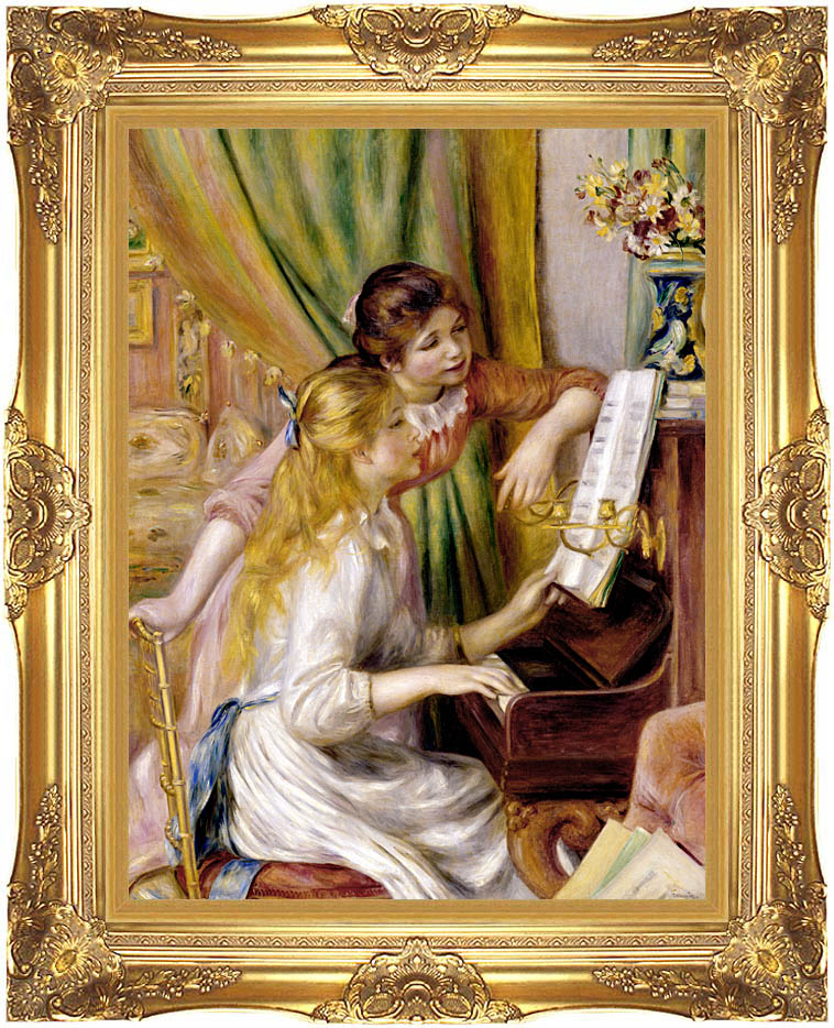 Pierre Auguste Renoir At the Piano with Majestic Gold Frame