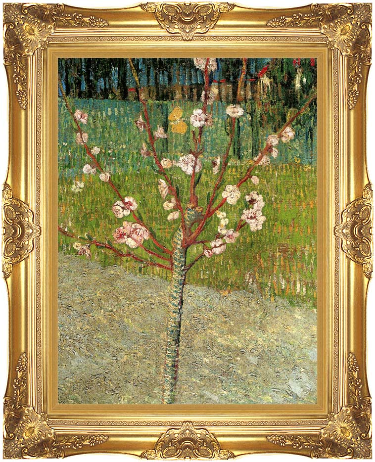 Vincent van Gogh Almond Tree in Blossom with Majestic Gold Frame