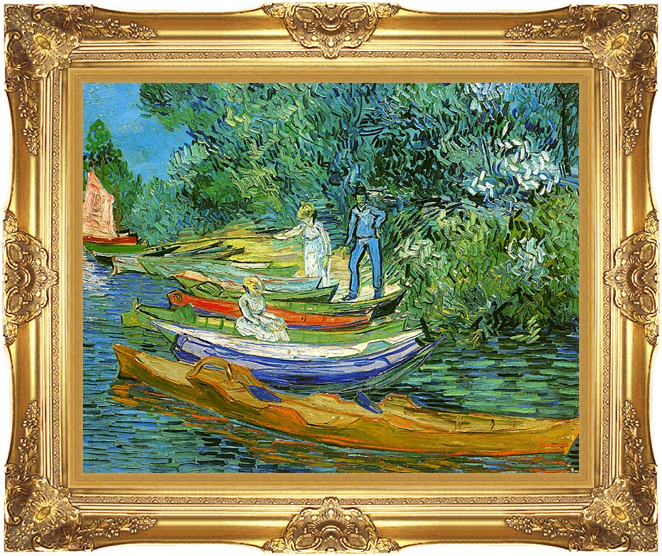 Vincent van Gogh Bank of the Oise at Auvers with Majestic Gold Frame
