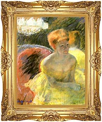 Mary Cassatt At The Theater Woman In A Loge canvas with Majestic Gold frame