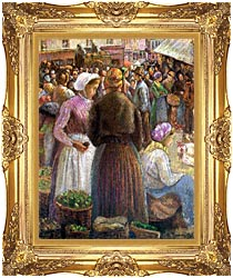 Camille Pissarro Market At Pontoise canvas with Majestic Gold frame
