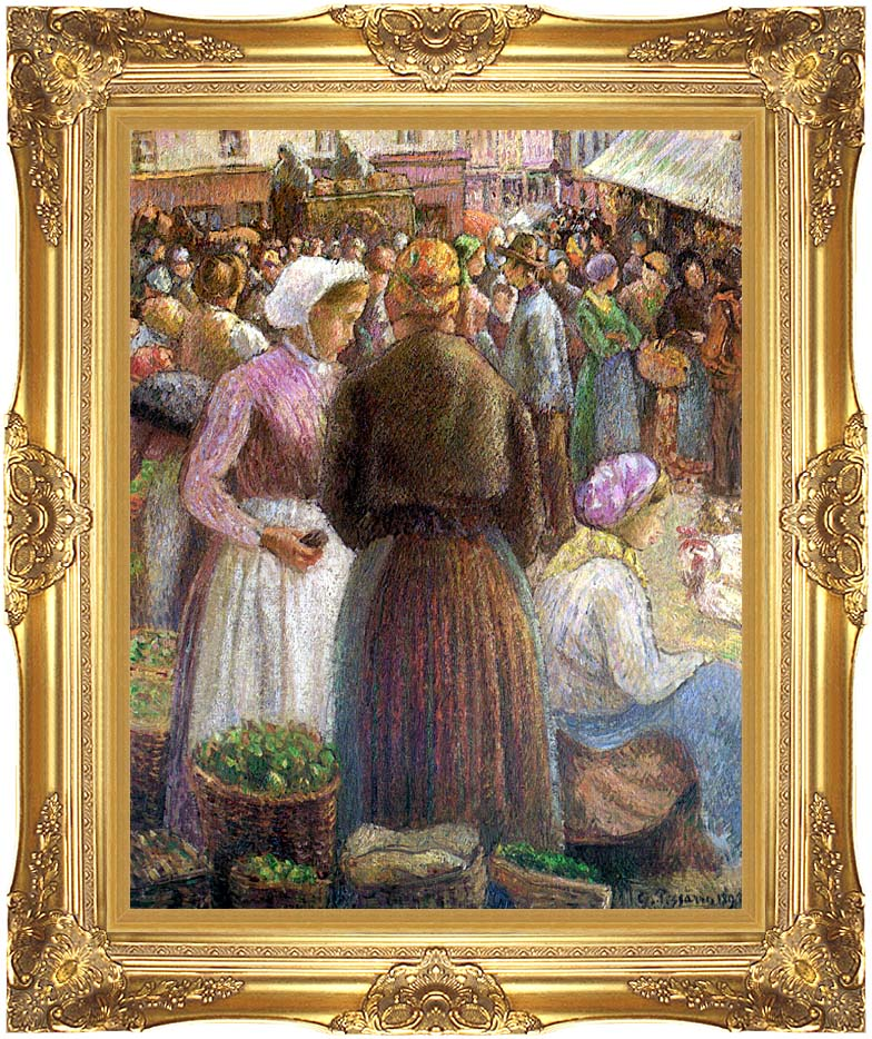 Camille Pissarro Market at Pontoise with Majestic Gold Frame