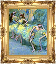 Edgar Degas Ballet Dancers In The Wings canvas with Majestic Gold frame