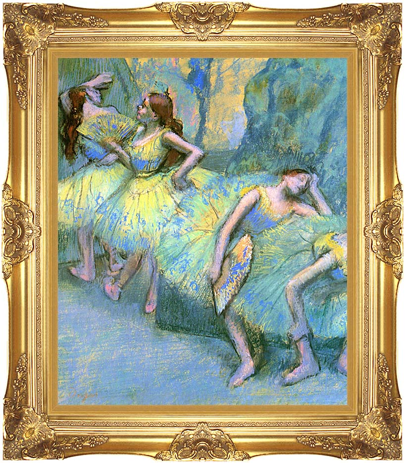 Edgar Degas Ballet Dancers in the Wings with Majestic Gold Frame