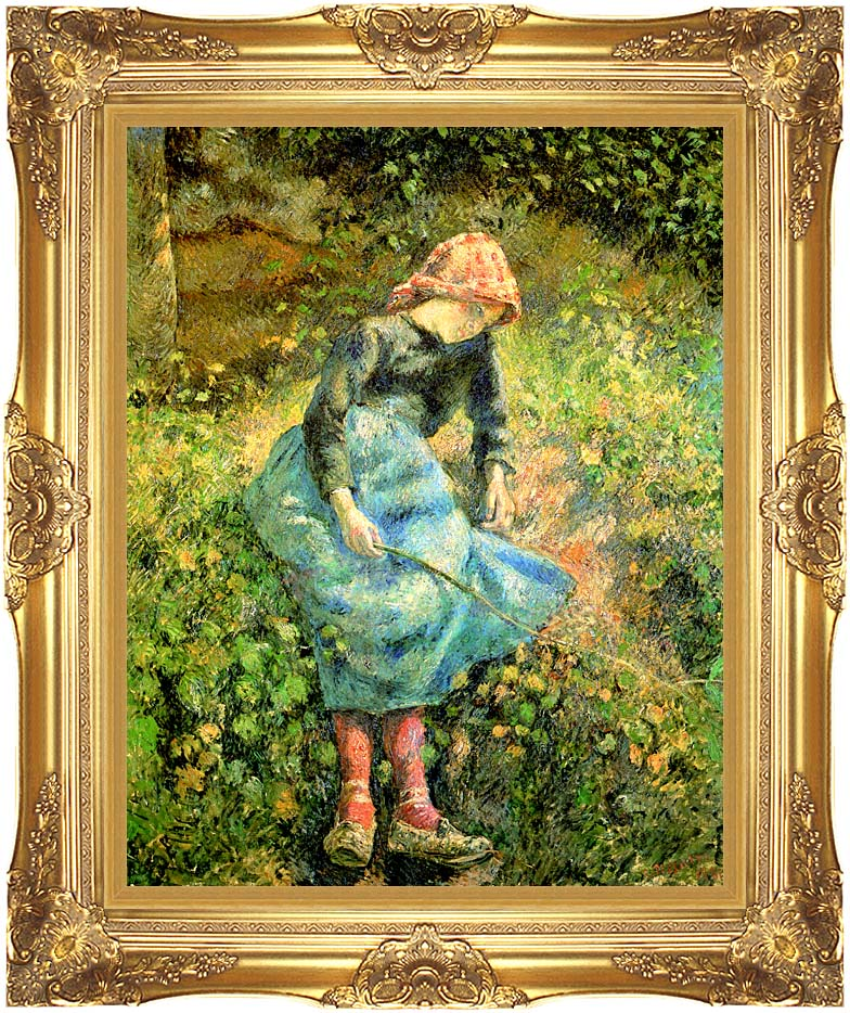 Camille Pissarro The Shepherdess with Majestic Gold Frame
