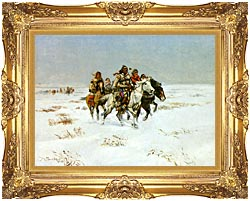 Charles Russell The Snow Trail canvas with Majestic Gold frame