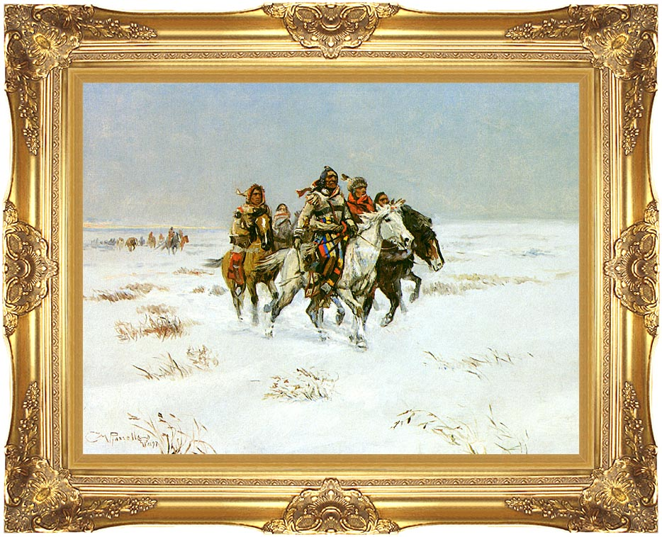 Charles Russell The Snow Trail with Majestic Gold Frame