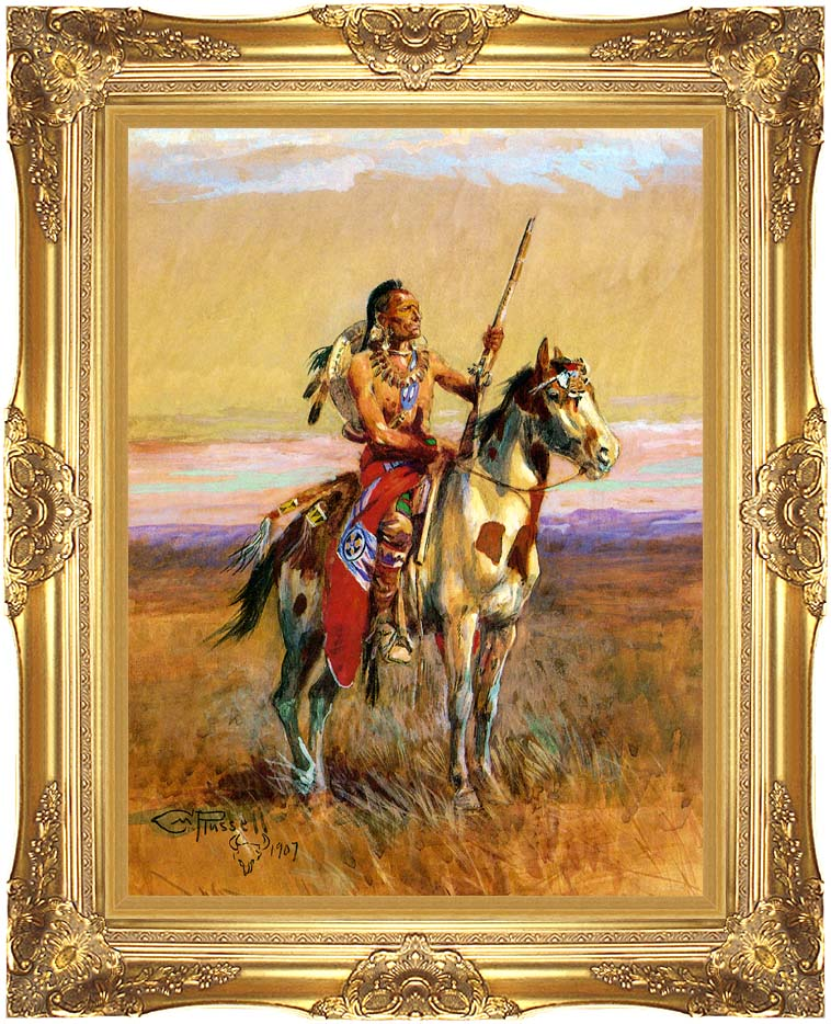 Charles Russell The Scout with Majestic Gold Frame