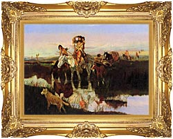 Charles Russell Bringing Up The Trail canvas with Majestic Gold frame