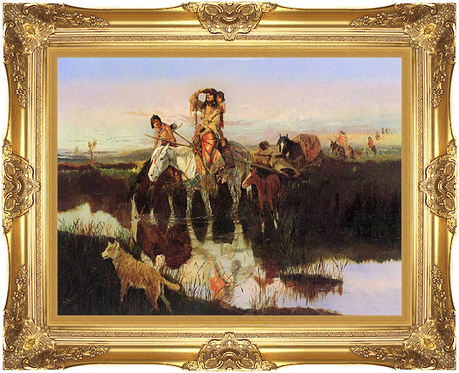 Charles Russell Bringing Up the Trail with Majestic Gold Frame