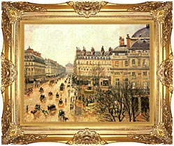 Camille Pissarro Place Du Theatre Francais Rain canvas with Majestic Gold frame