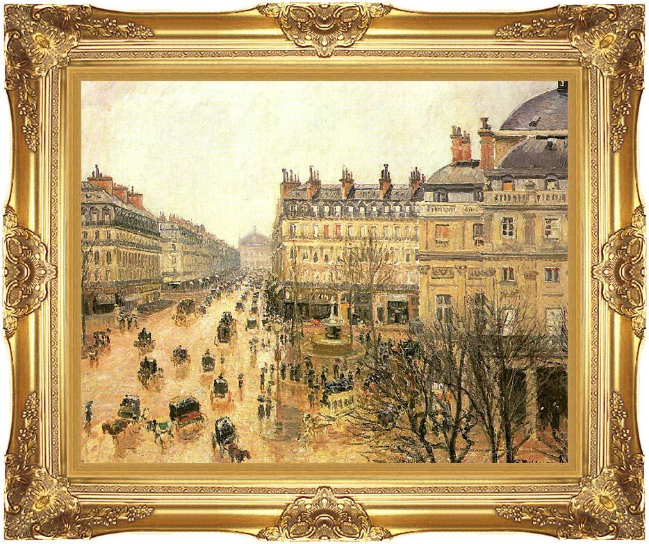 Camille Pissarro Place du Theatre Francais, Rain with Majestic Gold Frame