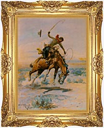 Charles Russell The Bucker canvas with Majestic Gold frame