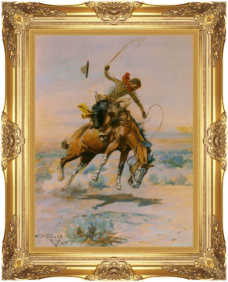 Charles Russell The Bucker with Majestic Gold Frame
