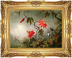 Martin Johnson Heade Passion Flowers And Hummingbirds canvas with Majestic Gold frame