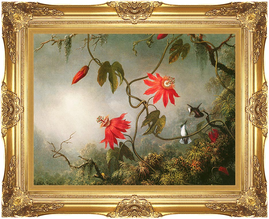 Martin Johnson Heade Passion Flowers and Hummingbirds with Majestic Gold Frame