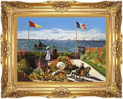 Claude Monet Terrace At Sainte Adresse canvas with Majestic Gold frame