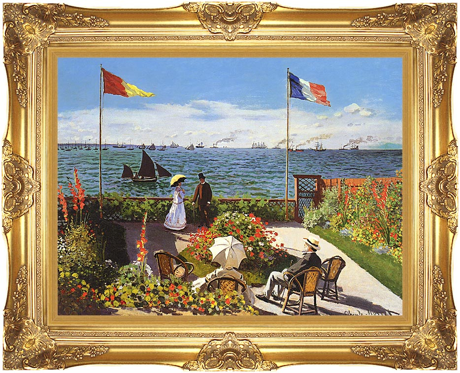 Claude Monet Terrace at Sainte-Adresse with Majestic Gold Frame